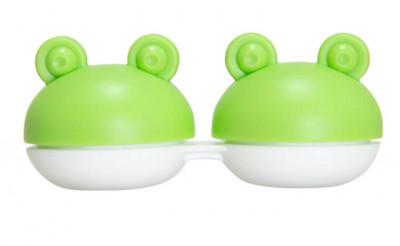 Étui à lentilles grenouille verte
