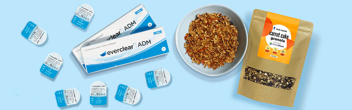 everclear ADM contact lenses and bowl of club rozalie carrot cake granola