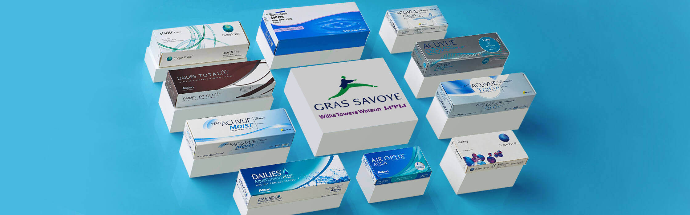 Logo de Gras Savoye et lentilles de contact de différentes marques
