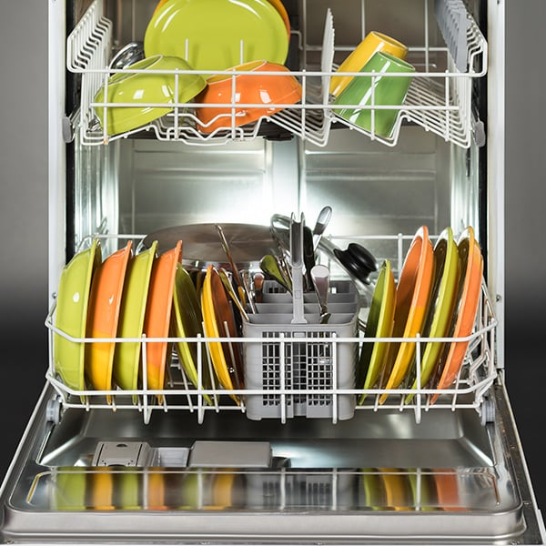 Plates in dishwasher