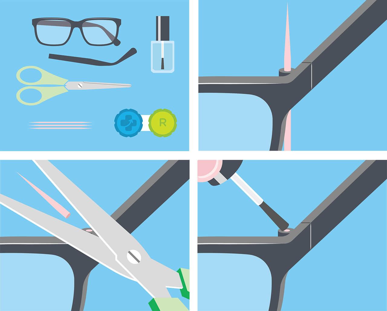Réparer branche de lunettes