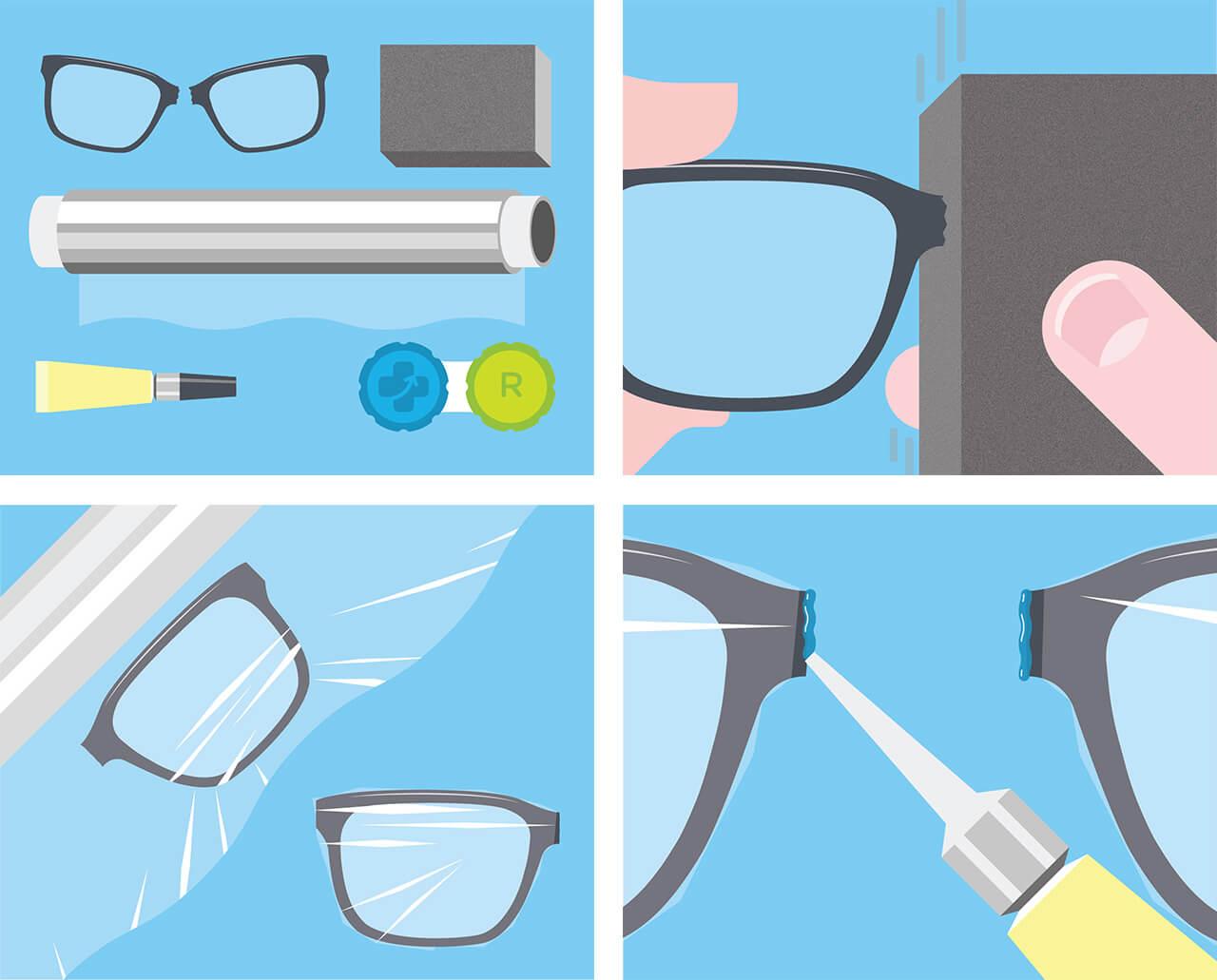 Réparer lunettes cassées en deux
