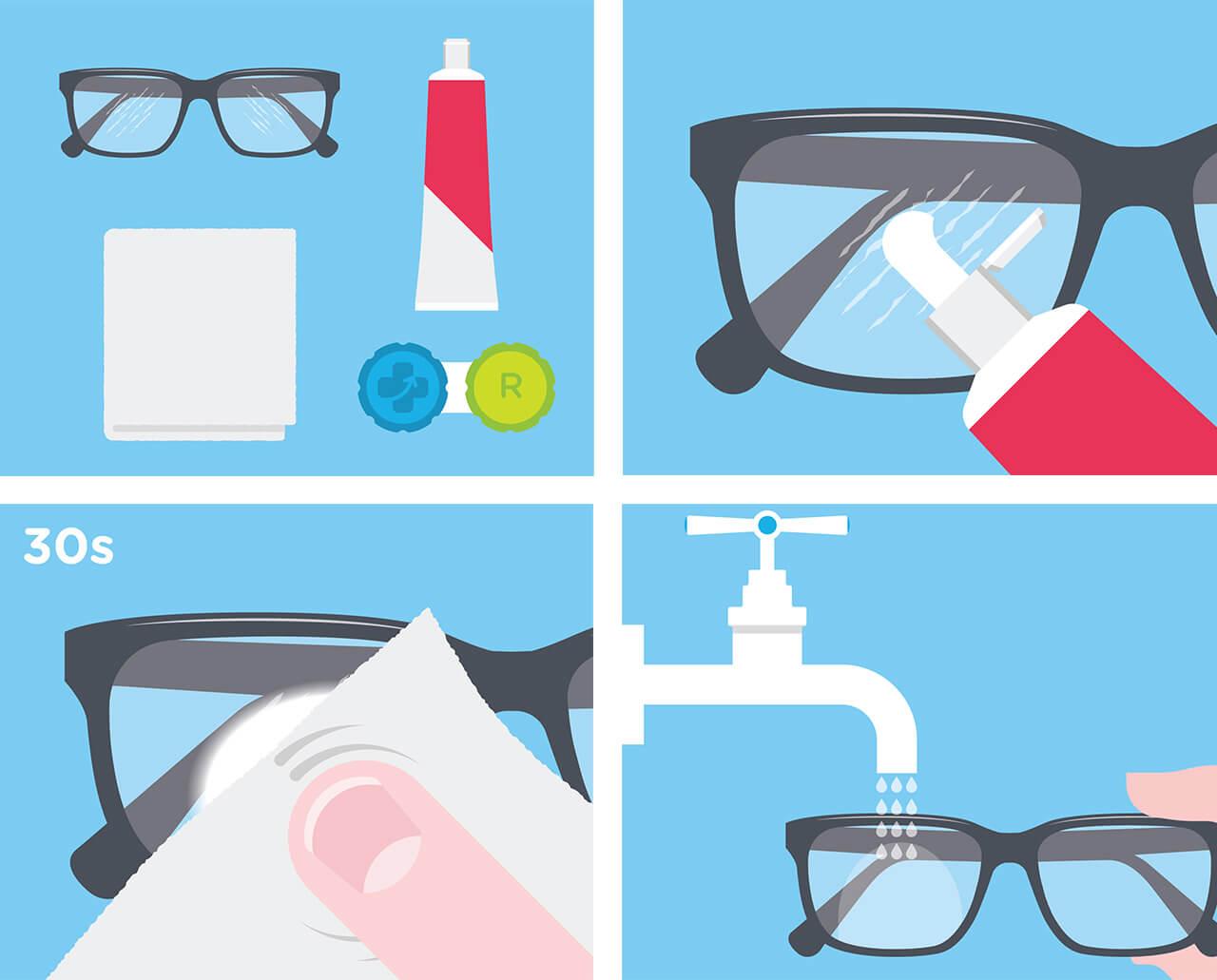 Réparer verres rayés lunettes
