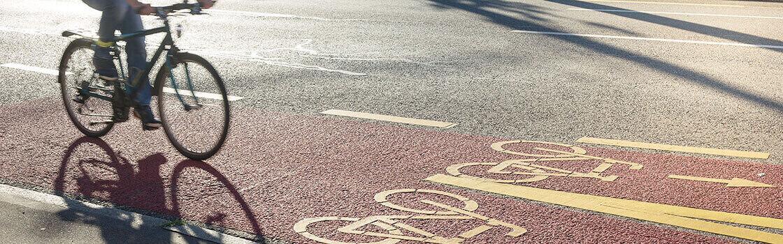 Cycling on bike lane in London