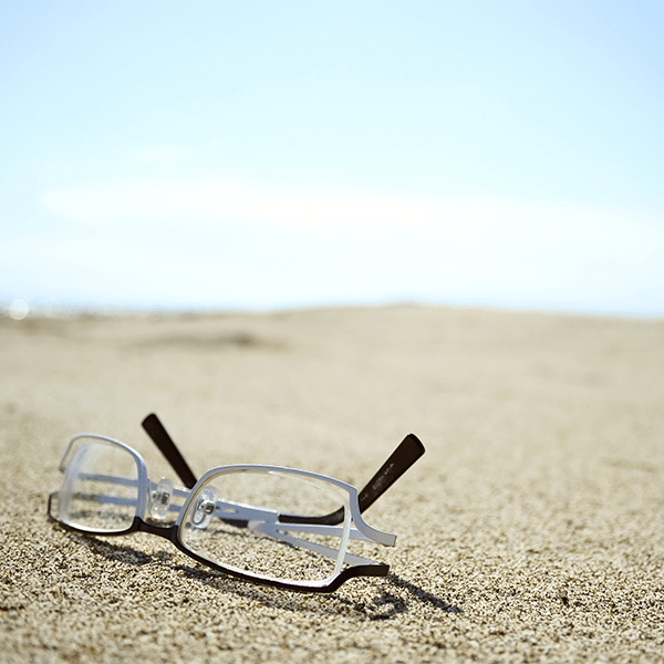 Glasses left on beach