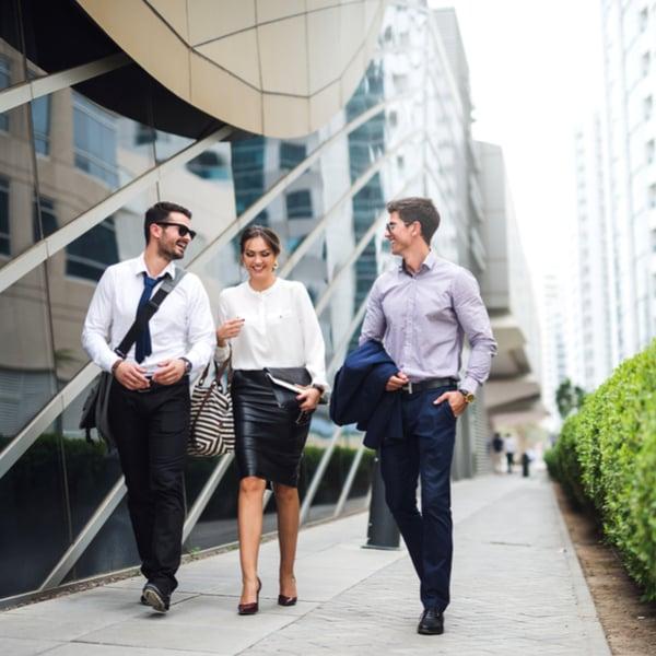 Office workers taking a walk