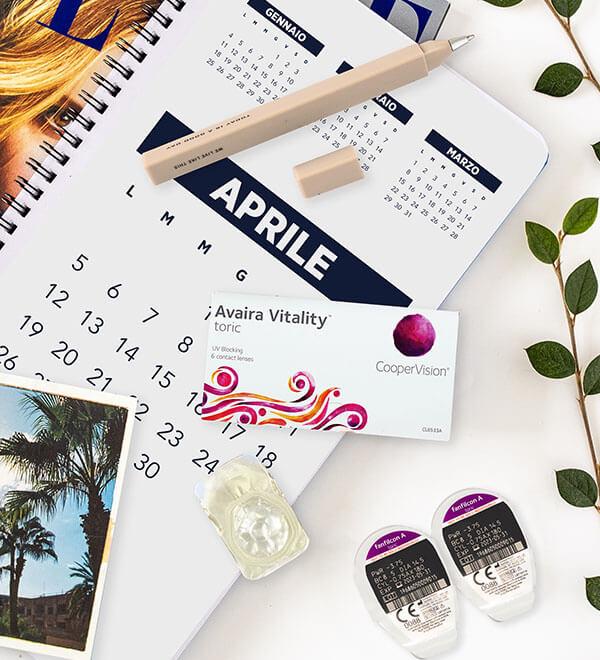 Confezione di Avaira Vitality Toric sopra un calendario