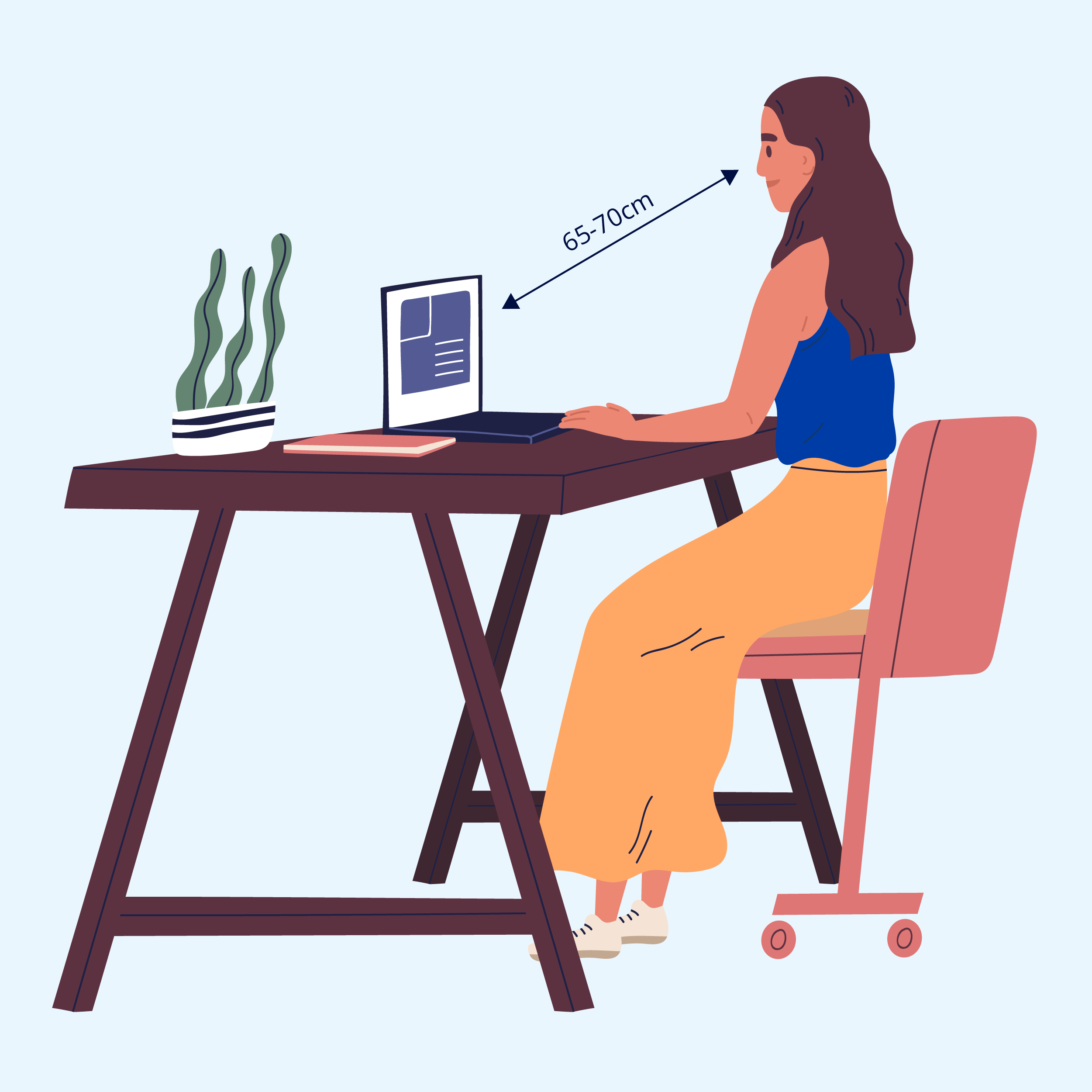 Illustration showing suitable distance from computer screen on desk