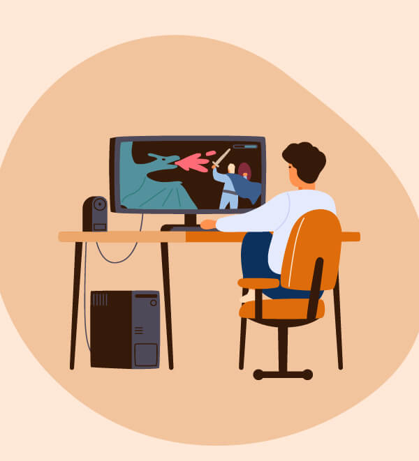 Illustration of person on their computer