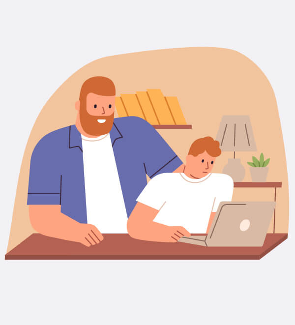 Illustration of a parent with their child viewing on a latop