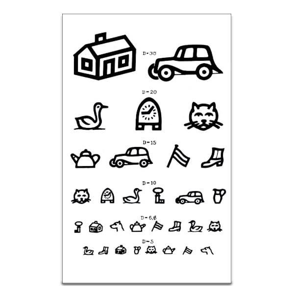 Een Burghardt visuskaart met symbolen