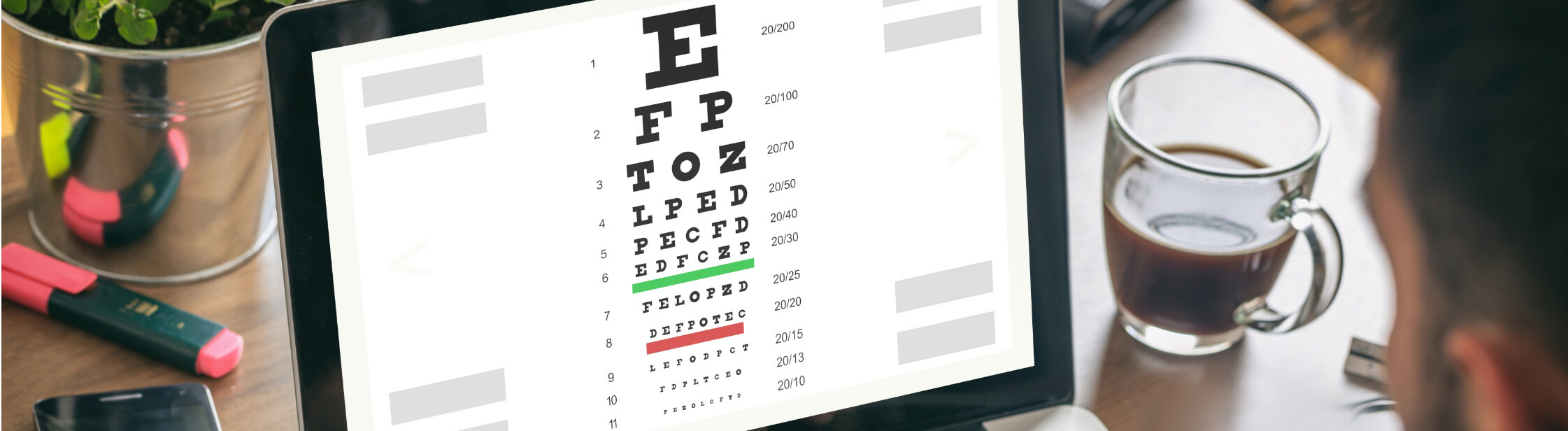 Eye test chart on a computer screen