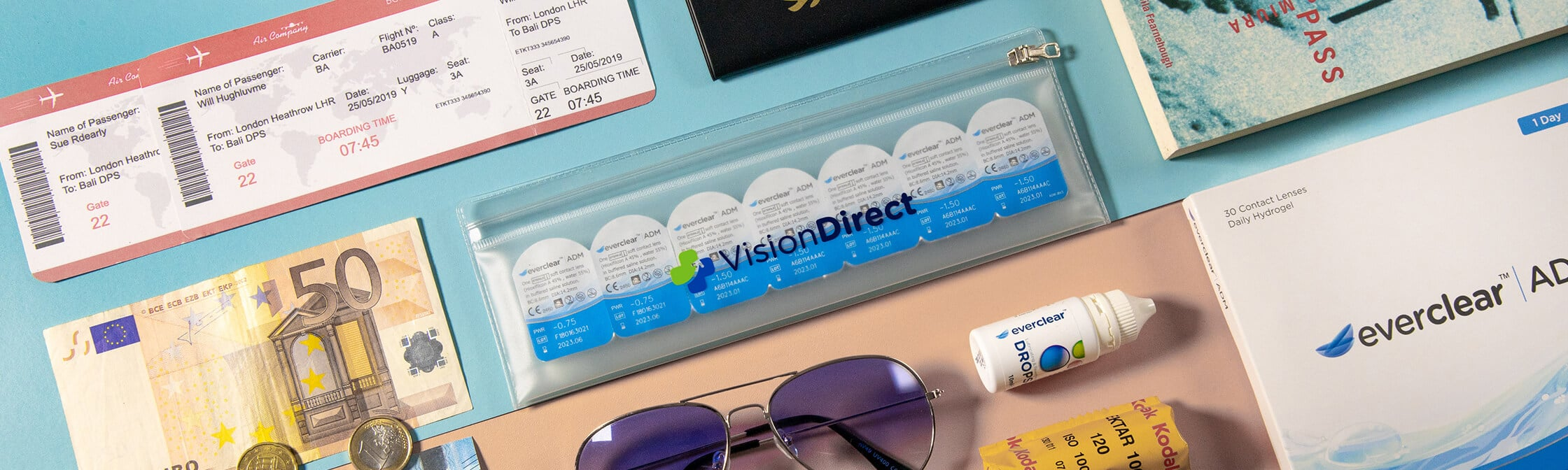 Contact lenses inside a plastic travel case