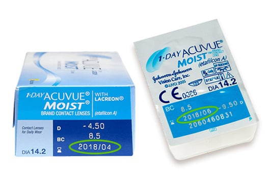Contact lens expiration date on box and blister