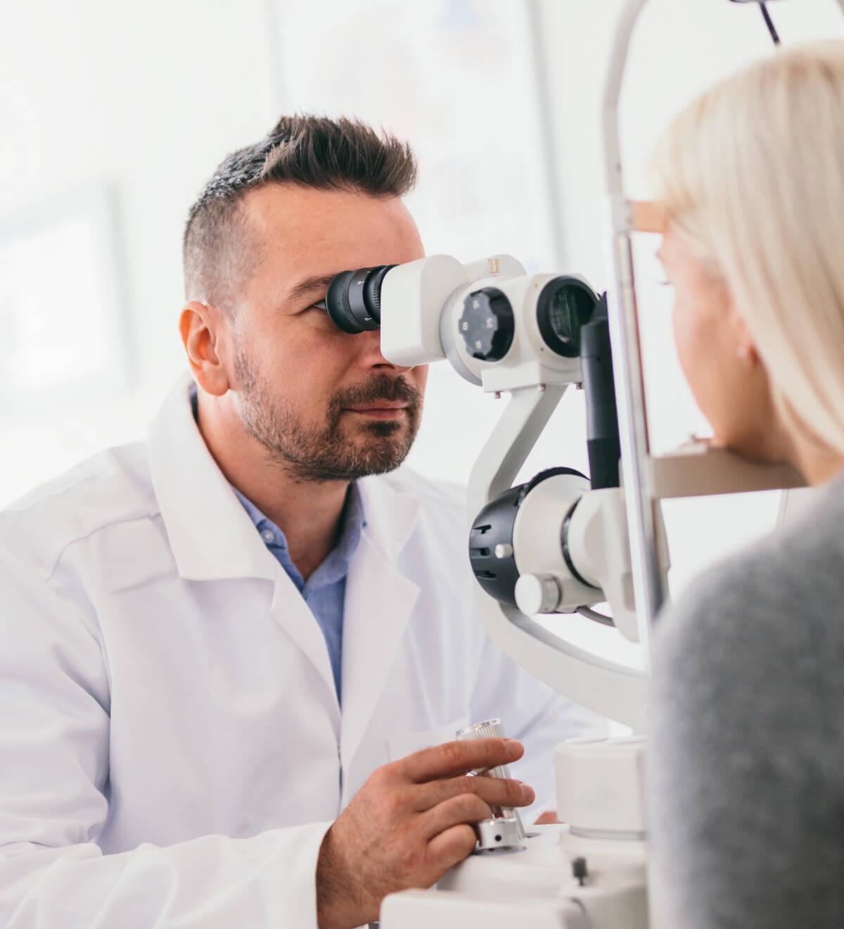 Young woman having an eye test