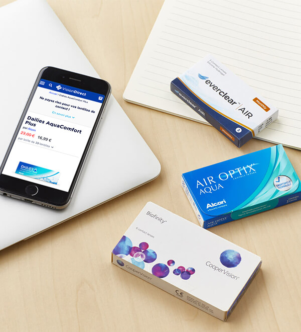 commande lentilles de contact smartphone