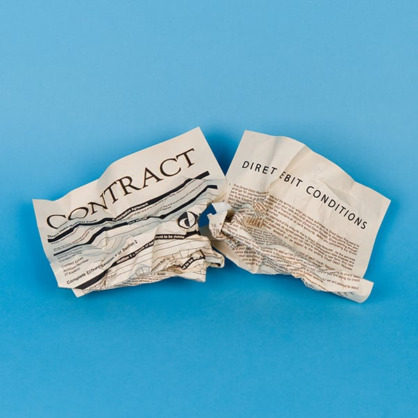 Crumpled optician direct debit contract