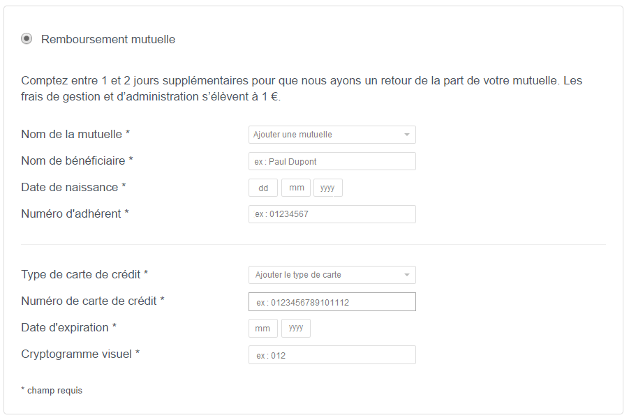 Screenshot of the Tiers payant payment method